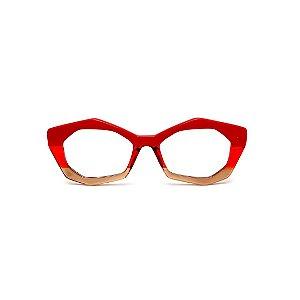 Armação para óculos de Grau Gustavo Eyewear G53 3. Cor: Vermelho opaco, vermelho e âmbar translúcido. Haste vermelha.
