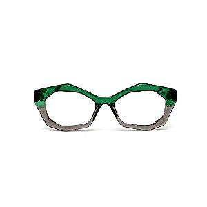 Armação para óculos de Grau Gustavo Eyewear G53 5. Cor: Verde e fumê translúcido. Haste verde.