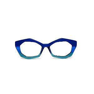 Armação para óculos de Grau Gustavo Eyewear G53 13. Cor: Azul opaco, azul e verde translúcido. Haste preta.