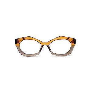 Armação para óculos de Grau Gustavo Eyewear G53 15. Cor: Caramelo e fumê translúcido. Haste animal print.