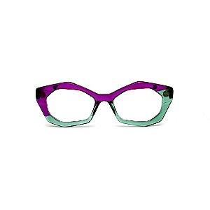 Armação para óculos de Grau Gustavo Eyewear G53 20. Cor: Violeta e verde translúcido. Haste preta.