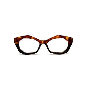 Armação para óculos de Grau Gustavo Eyewear G53 21. Cor: Animal print e preto. Haste animal print.