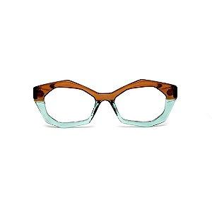 Armação para óculos de Grau Gustavo Eyewear G53 22. Cor: <arrom e acqua translúcido. Haste marrom.