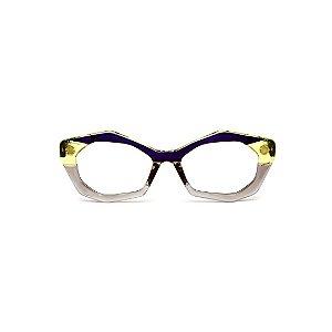 Armação para óculos de Grau Gustavo Eyewear G53 25. Cor: Fumê, amarelo e violeta translúcido. Haste fumê.