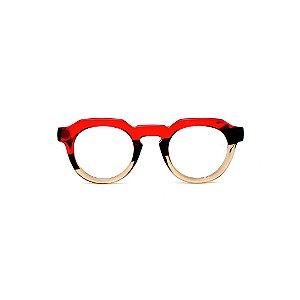 Armação para óculos de Grau Gustavo Eyewear G66 12. Cor: Vermelho, marrom e âmbar translúcido. Haste marrom.