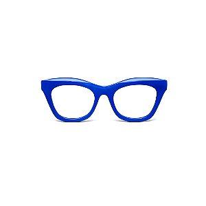 Armação para óculos de Grau Gustavo Eyewear G69 1. Cor: Azul opaco. Haste preta.
