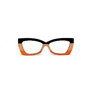 Armação para óculos de Grau Gustavo Eyewear G81 2. Cor: Preto, nude e laranja opaco. Haste preta.