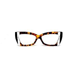 Armação para óculos de Grau Gustavo Eyewear G81 8. Cor: Animal print com listras preto e branco. Haste animal print.