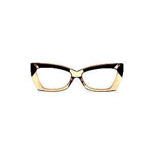 Armação para óculos de Grau Gustavo Eyewear G81 4. Cor: Âmbar, preto e azul. Haste preta.