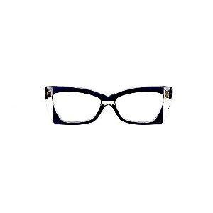 Armação para óculos de Grau Gustavo Eyewear G81 9. Cor: Crista e azul translúcido. Haste azul.