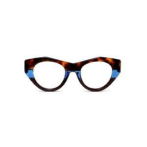 Armação para óculos de Grau Gustavo Eyewear G119 2. Cor: Animal print, azul e marrom. Haste animal print.