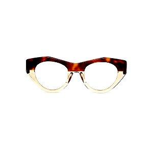 Armação para óculos de Grau Gustavo Eyewear G119 8. Cor: Animal print e âmbar. Haste animal print.