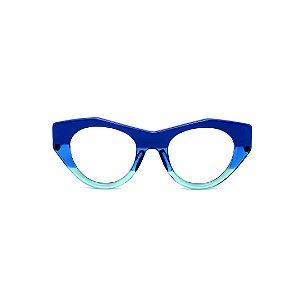 Armação para óculos de Grau Gustavo Eyewear G119 9. Cor: Azul opaco, azul e acqua translúcidos. Haste azul.