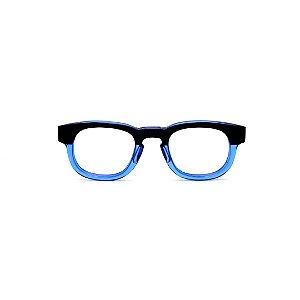 Armação para óculos de Grau Gustavo Eyewear G41 1. Cor: Preto e azul translúcido. Haste preta.