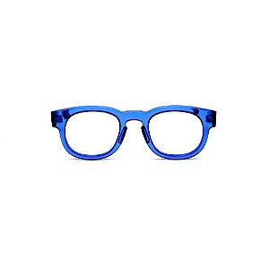 Armação para óculos de Grau Gustavo Eyewear G41 2. Cor: Azul translúcido. Haste animal print.