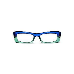 Armação para óculos de Grau Gustavo Eyewear G35 8. Cor: Azul e acqua translúcido. Haste azul.