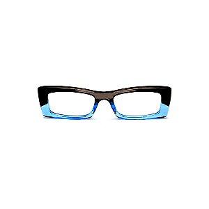Armação para óculos de Grau Gustavo Eyewear G35 10. Cor: Preto, fumê e azul translúcido. Haste azul.