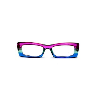 Armação para óculos de Grau Gustavo Eyewear G35 12. Cor: Violeta, acqua e azul translúcido. Haste violeta.