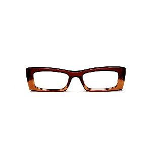 Armação para óculos de Grau Gustavo Eyewear G35 13. Cor: Marrom e carmelo translúcido. Haste preta.