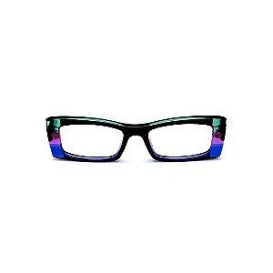 Armação para óculos de Grau Gustavo Eyewear G35 14. Cor: Preto, verde, violeta e azul translúcido. Haste preta.