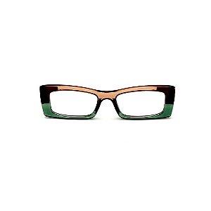 Armação para óculos de Grau Gustavo Eyewear G35 17. Cor: Verde, âmbar e marrom. Haste marrom.