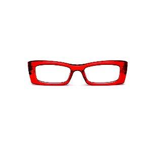 Armação para óculos de Grau Gustavo Eyewear G35 19. Cor: Vermelho translúcido. Haste animal print.