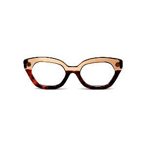 Armação para óculos de Grau Gustavo Eyewear G70 4. Cor: Animal print e âmbar translúcido. Haste marrom.