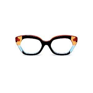 Armação para óculos de Grau Gustavo Eyewear G70 11. Cor: Preto, laranja e azul translúcido. Haste laranja.