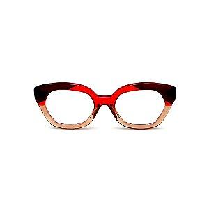 Armação para óculos de Grau Gustavo Eyewear G70 12. Cor: Vermelho, marrom e âmbar translúcido. Haste vermelha.