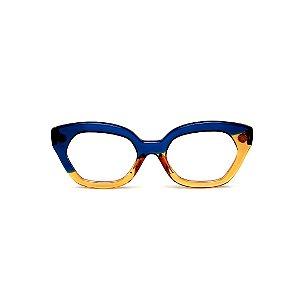 Armação para óculos de Grau Gustavo Eyewear G70 13. Cor: Azul e caramelo translúcido. Haste azul.