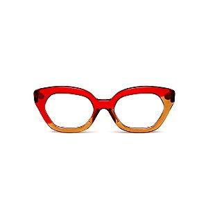 Armação para óculos de Grau Gustavo Eyewear G70 14. Cor: Vermelho e caramelo translúcido. Haste vermelha.