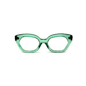 Armação para óculos de Grau Gustavo Eyewear G70 23. Cor: Acqua translúcido. Haste preta.