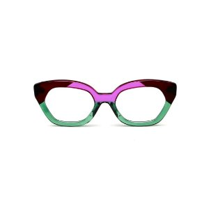 Armação para óculos de Grau Gustavo Eyewear G70 29. Cor: Violeta, marrom e verde translúcido. Haste animal print.