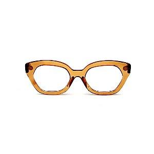 Armação para óculos de Grau Gustavo Eyewear G70 30. Cor: Caramelo translúcido. Haste animal print.