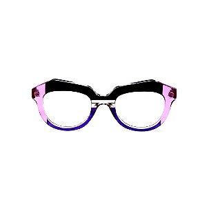 Armação para óculos de Grau Gustavo Eyewear G37 6. Cor: Preto, azul, violeta e cristal translúcido. Haste violeta.