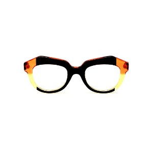 Armação para óculos de Grau Gustavo Eyewear G37 7 Cor: Preto, laranja e amarelo translúcido. Haste preta.