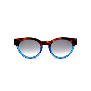 Óculos de Sol Gustavo Eyewear G63 2. Cor: Animal print e azul translúcido. Haste animal print. Lentes cinza.