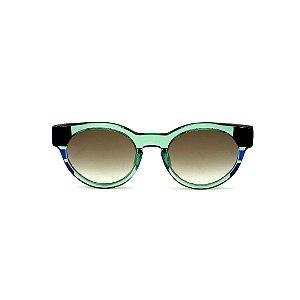 Óculos de Sol Gustavo Eyewear G63 6. Cor: Verde, preto e azul translúcido. Haste verde. Lentes verdes.
