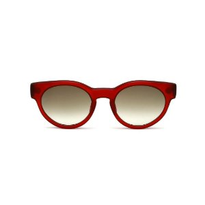 Óculos de Sol Gustavo Eyewear G63 8. Cor: Vermelho fosco. Haste marrom. Lentes cinza.