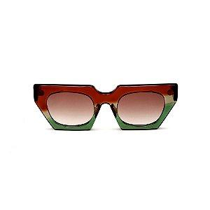 Óculos de Sol Gustavo Eyewear G137 1. Cor: Marrom, fumê e verde translúcido. Haste marrom. Lentes marrom.
