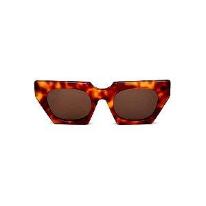 Óculos de Sol Gustavo Eyewear G137 5. Cor: Animal print. Haste animal print. Lentes marrom.
