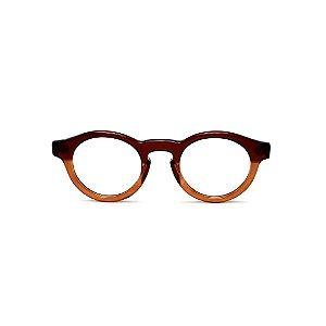 Armação para óculos de Grau Gustavo Eyewear G29 8. Cor: Marrom e âmbar translúcido. Haste animal print.