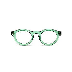 Armação para óculos de Grau Gustavo Eyewear G29 9. Cor: Acqua translúcido. Haste animal print.