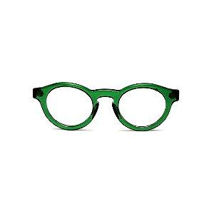 Armação para óculos de Grau Gustavo Eyewear G29 14. Cor: Verde translúcido. Haste animal print.