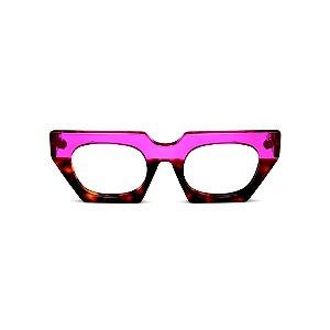 Armação para óculos de Grau Gustavo Eyewear G137 3. Cor: Violeta translúcido e animal pront. Haste violeta.