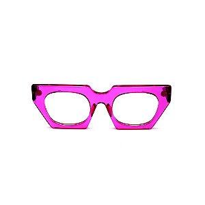 Armação para óculos de Grau Gustavo Eyewear G137 5. Cor: Violeta translúcido. Haste animal print.