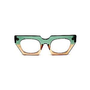 Armação para óculos de Grau Gustavo Eyewear G137 7. Cor: Acqua e âmbar translúcido. Haste preta.