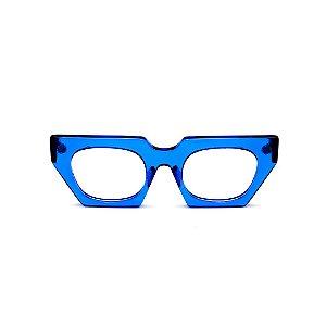 Armação para óculos de Grau Gustavo Eyewear G137 8. Cor: Azul translúcido. Haste preta.