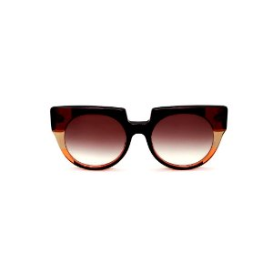 Óculos de Sol Gustavo Eyewear G135 1. Cor: Preto, marrom, âmbar e laranja translúcido. Haste marrom. Lentes marrom.