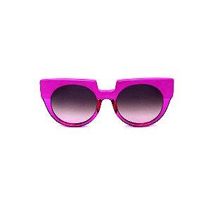 Óculos de Sol Gustavo Eyewear G135 6. Cor: Violeta opaco e translúcido. Haste animal print. Lentes cinza.